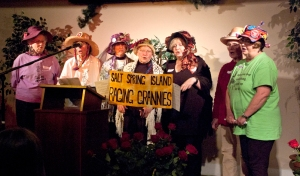 The Raging Grannies contribute to positive grass roots programs and take a stand against social injustice and environmental degradation, using wit and humour.